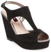 Betseyville by Betsey Johnson Women's Ryatt Glitter Mesh Platform Wedge Sandals