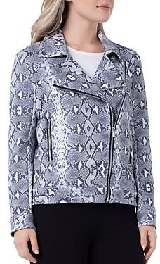 Liverpool Los Angeles Python Print Faux-Suede Moto Jacket