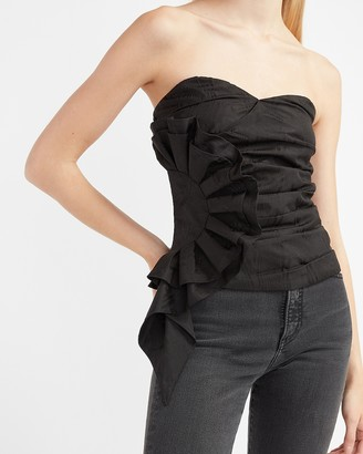 Express Strapless Tiered Ruffle Bustier Top