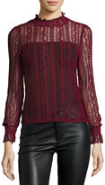 Romeo & Juliet Couture Sheer Stretch-Lace Long-Sleeve Top, Burgundy
