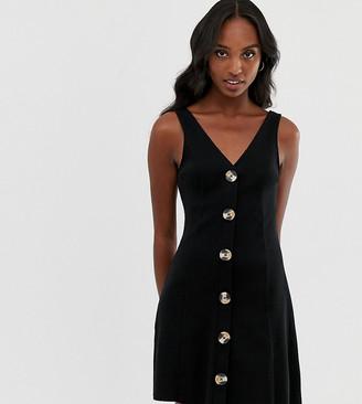 Asos Tall DESIGN Tall button through rib mini dress