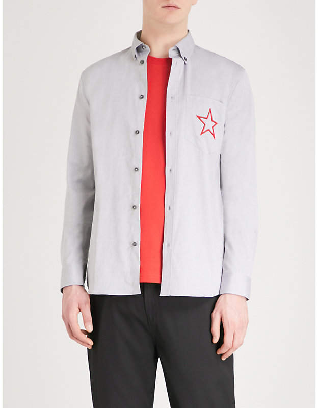 Givenchy Star embroidered slim-fit cotton shirt