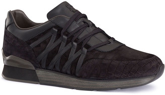 Stefano Ricci Men's Tonal Leather/Suede Sneakers with Crocodile
