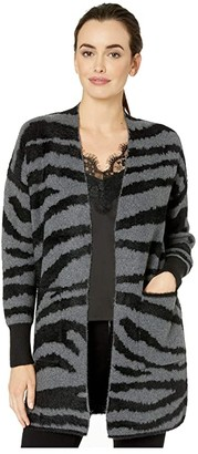 Vince Camuto Long Sleeve Short Eyelash Zebra Two-Pocket Cardigan (Medium Heather Grey) Women's Sweater