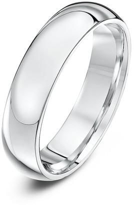 Theia Unisex Super Heavy Court Shape Polished 9 ct White Gold 5 mm Wedding Ring - Size Y