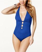 Lauren Ralph Lauren Lattice Halter One-Piece Swimsuit