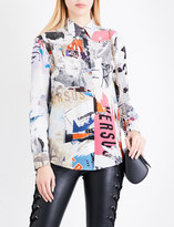 Versace Abstract-print silk-crepe shirt