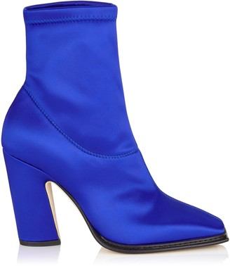 Jimmy Choo MICA 100 Electric Blue Stretch Satin Squared Closed Toe Boot