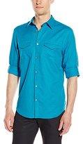 Calvin Klein Men's Linen Long Sleeve Roll Up Shirt