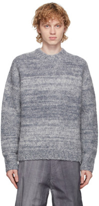 AURALEE Blue Wool and Alpaca Sweater