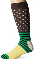 Happy Socks Men's 1Pk Combed Cotton Stripe and Dots Crew Sock