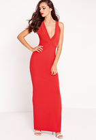 Missguided Plunge Cross Back Maxi Dress Red