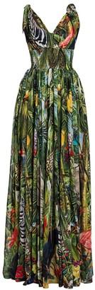 Dolce & Gabbana Multi Print Tie-Shoulder Gown