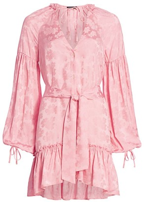 Wandering Silk Blend Blouson-Sleeve Mini Dress