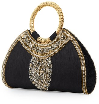 Amina Jywal London Black Embellished Evening Purse