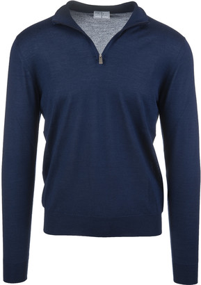 Fedeli Man Half-zip Favonio Pullover In Royal Blue Silk And Cashmere