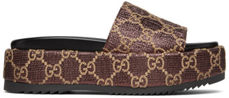 Gucci Burgundy Lame GG Sandals