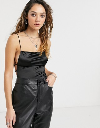 Motel backless square neck body in liquid satin