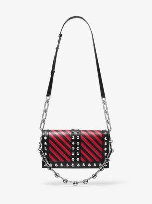 Michael Kors Courtney Studded Striped Leather Shoulder Bag