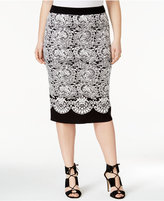 Rachel Roy Trendy Plus Size Jacquard Pencil Skirt