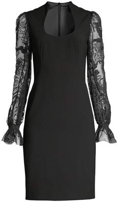 Elie Tahari Diva Floral Sheer-Sleeve Sheath Dress
