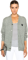 Comme des Garcons Wool Black Heart Emblem Cardigan in Light Grey