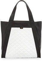 Foley + Corinna Cushion Quilted Leather Tote Bag, Black/White
