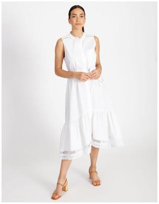 Basque Hi Lo Cotton Trim Dress