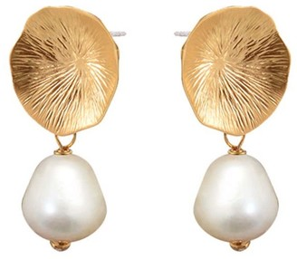 Mirabelle Jewellery Flower Coral Earrings Freshwater Pearl