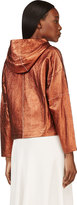 3.1 Phillip Lim Copper Leather Cropped Poncho Sweatshirt