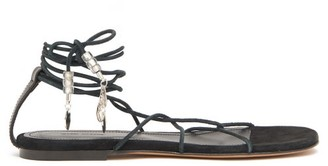 Isabel Marant Jindia Bead-embellished Rope And Suede Sandals - Black