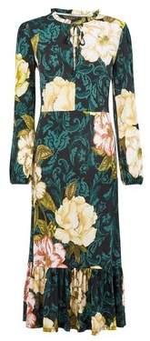 Dorothy Perkins Womens Multi Colour Floral Print Jersey Midi Dress