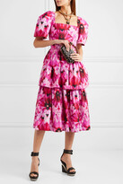 Thumbnail for your product : Alexander McQueen Tiered Printed Cotton-poplin Midi Dress - Pink