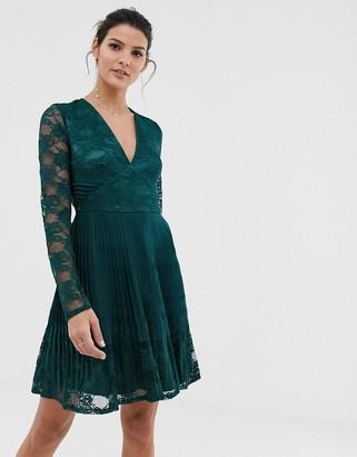 Asos Design DESIGN pleated lace insert mini skater dress-Green