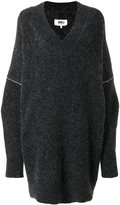 MM6 MAISON MARGIELA V-neck sweater dress - women - Acrylic/Polyamide/Spandex/Elastane/Wool - S