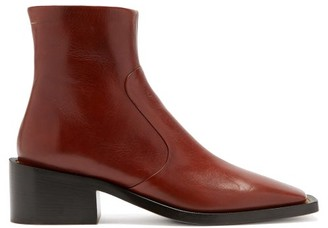 MM6 MAISON MARGIELA Square-toe Block-heel Leather Ankle Boots - Brown
