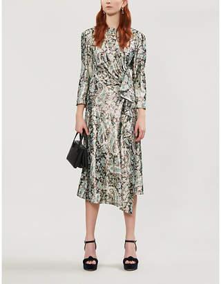 Sandro Paisley-print metallic woven midi dress