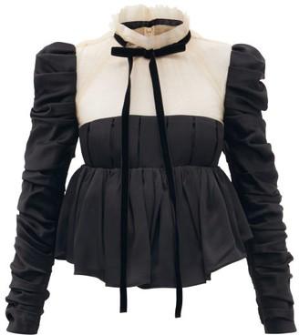 KHAITE Fanny Tulle And Satin-back Crepe Peplum Blouse - Black