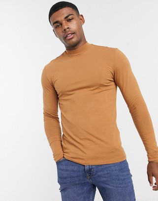 ASOS DESIGN muscle fit long sleeve turtle neck t-shirt in brown