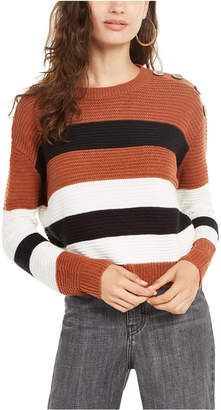 Planet Gold Juniors' Striped Button-Shoulder Sweater