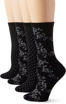 Peds Women's with Silver Spiraling Floral and Dot Ladies Dress Crew Socks 4 Pairs