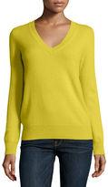 Neiman Marcus Long-Sleeve V-Neck Cashmere Top, Plus Size