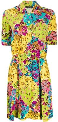 Jean Louis Scherrer Pre Owned 1980's Abstract Print Shirt Dress