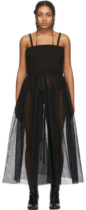 MM6 MAISON MARGIELA Black Denim Tulle Tank Dress