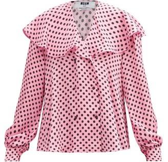 MSGM Sailor-collar Polka-dot Crepe Blouse - Pink