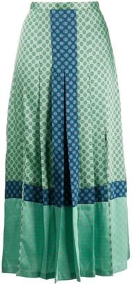 Sandro Paris Geometric Print Midi Skirt