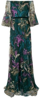 Marchesa Notte Embroidered Off-Shoulder V-Neck Gown