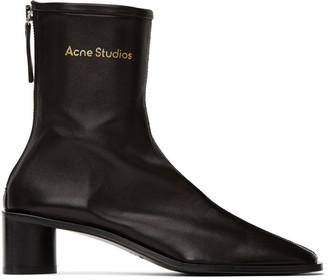 Acne Studios Black Branded Heel Boots