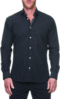 Maceoo Fibonacci Ceremony Black Regular Fit Button-Up Shirt