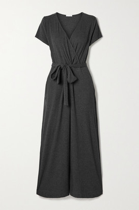 Skin Nicole Ribbed Stretch Pima Cotton And Modal-blend Jumpsuit - Dark gray